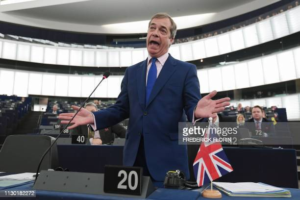 TOPSHOT Former UK Independence Party leader Brexit campaigner and member of the European Parliament Nigel Farage gestures as he speaks during a...