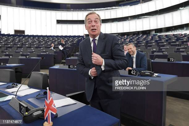 Former UK Independence Party leader Brexit campaigner and member of the European Parliament Nigel Farage gestures ahead of a debate on UKs withdrawal...