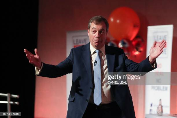 Former UK Independence Party leader Nigel Farage speaks at a political rally organised by the proBrexit Leave Means Leave campaign group in central...