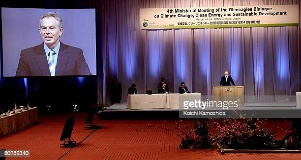 Former UK Prime Minister Tony Blair attends the G20 Gleneagles Dialogue at Makuhari Messe on March 15, 2008 in Chiba, Japan. The summit includes...