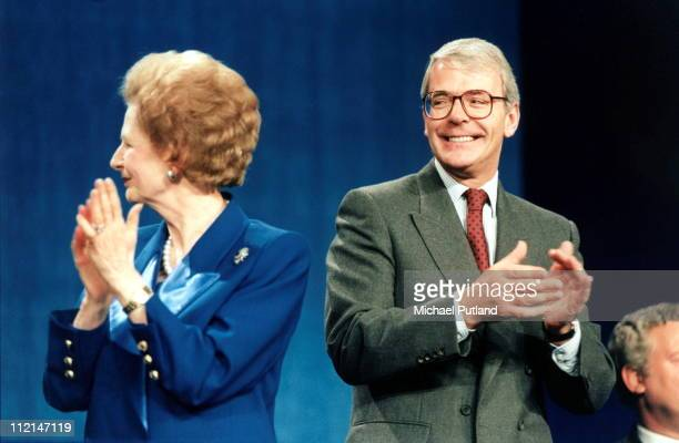 Former UK Prime Ministers Margaret Thatcher and John Major at the Conservative Party Conference during Major's time in office 1995