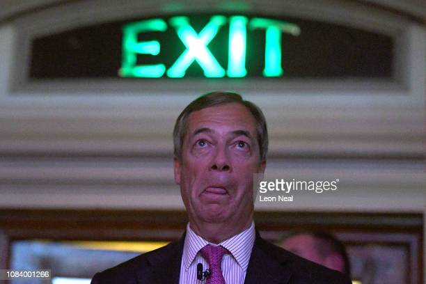 Former UKIP leader Nigel Farage attends the Brexit Let's go WTO rally by the Leave Means Leave Brexit Campaig in Central Hall on January 17 2019 in...