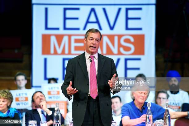 Former UKIP leader Nigel Farage speaks during the Brexit Let's go WTO rally by the Leave Means Leave Brexit Campaig in Central Hall on January 17...
