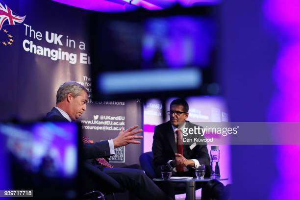 Former UKIP leader Nigel Farage takes part in a QA with Anand Menon Professor of European Politics and Foreign Affairs at King's College London...