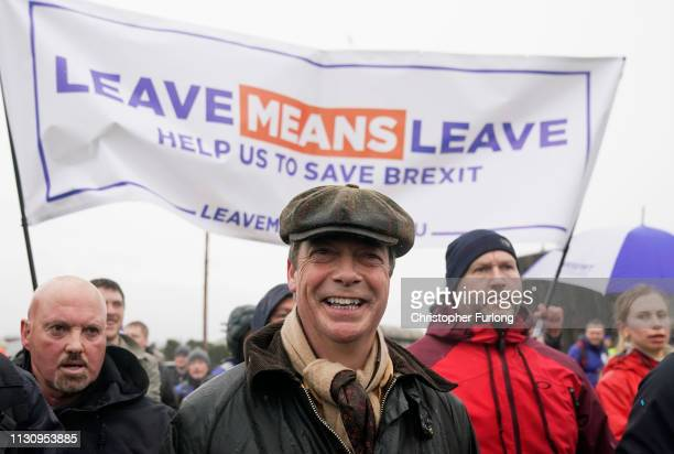 Former UKIP leader Nigel Farage takes part in the 'March to Leave' walk from the Port of Sunderland on March 16 2019 in Seaham England The 'March to...