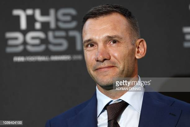 Former Ukraine and AC Milan player Andriy Shevchenko poses for a photograph as he arrives for The Best FIFA Football Awards ceremony on September 24...