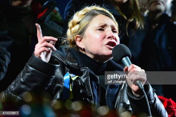 Former Ukrainian Prime Minister Yulia Tymoshenko addresses the crowd in Independence Square after being freed from prison on February 22 2014 in Kiev...