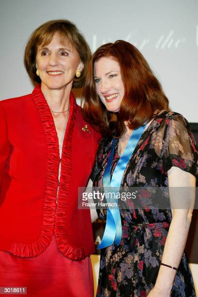 Former UN Assistant Secretary-General Gillian Sorensen and actress Annette O'Toole attend The Global Vision for Peace launch of Artists for the...