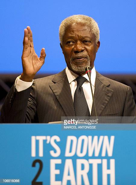 Former UN Secretary General Kofi Annan delivers a speech during a global conference on agriculture food security and climate change called 'Its Down...