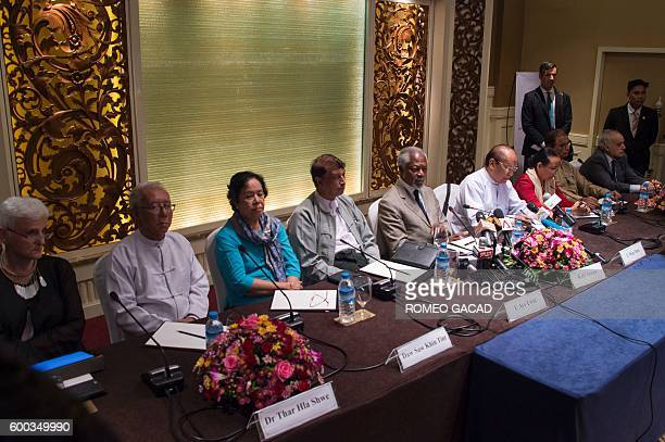 Former UN secretary general Kofi Annan head of a ninemember multi sector advisory commission on Myanmar's Rakhine State holds a press conference in...