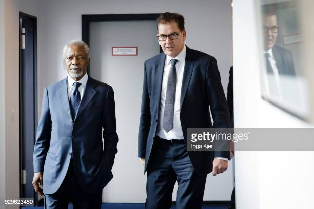 Former UN secretary general Kofi Annan meets German Development Minister Gerd Mueller on March 03 2018 in Berlin Germany