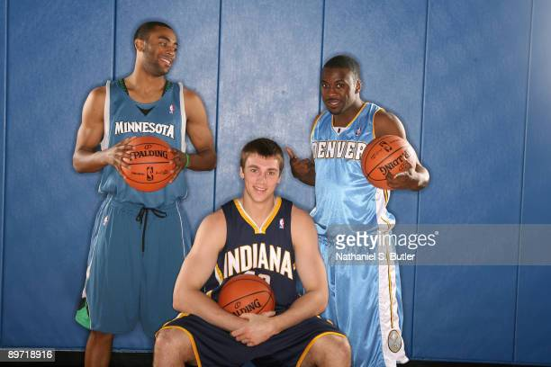 Former UNC teammates Wayne Ellington of the Minnesota Timberwolves Tyler Hansbrough of Indiana Pacers and Ty Lawson of the Denver Nuggets all pose...