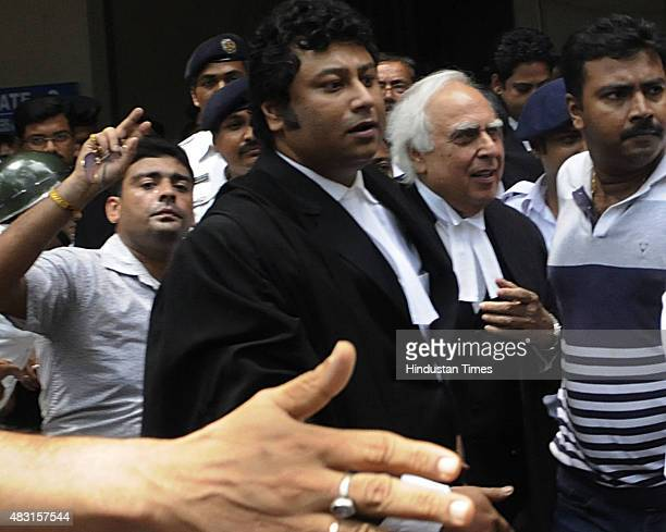 Former Union Minister and Senior Lawyer Kapil Sibal seen entering Calcutta High Court to plead for Madan Mitra's bail on August 6 2015 in Kolkata...