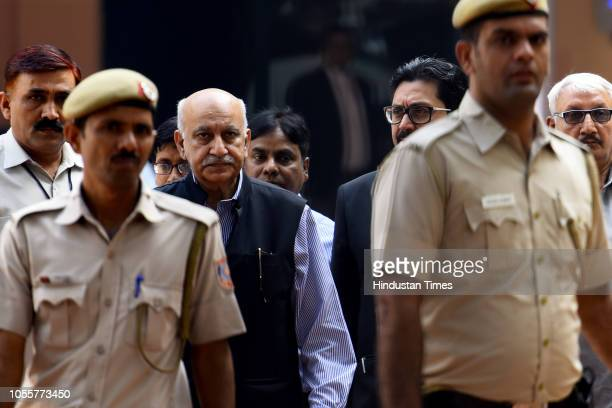 Former Union minister MJ Akbar appeared at Patiala house court for a hearing in the sexual harassment case filed against him on October 31 2018 in...