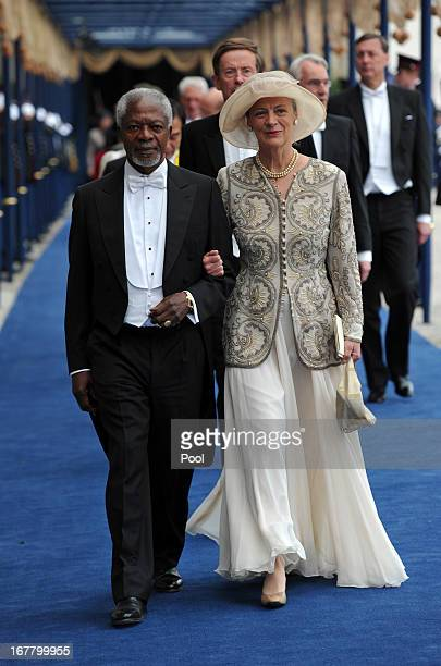 Former United Nations Secretary General Kofi Annan and his wife Nane leave following the inauguration ceremony for HM King Willem Alexander of the...