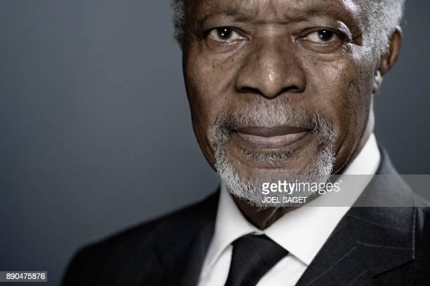 Former United Nations secretarygeneral Kofi Annan poses during a photo session in Paris on December 11 2017 / AFP PHOTO / JOEL SAGET