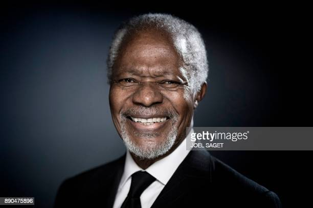 Former United Nations secretarygeneral Kofi Annan poses during a photo session in Paris on December 11 2017