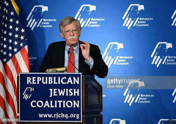 Former United States ambassador to the United Nations John Bolton speaks during the Republican Jewish Coalition spring leadership meeting at The...