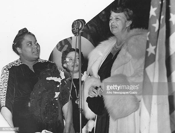 Former United States First Lady Eleanor Roosevelt delivering a speech at Bennett College HomeMaking Institute Greensboro North Carolina March 18 1945