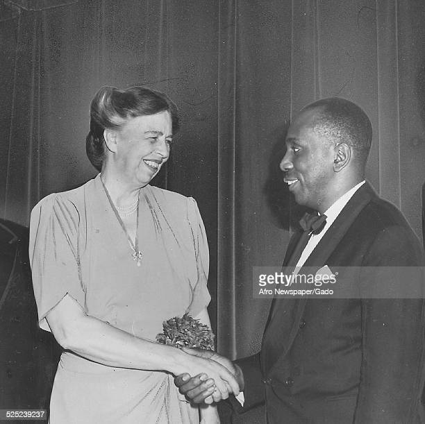 Former United States First Lady Eleanor Roosevelt Howard Thurman Howard University president Mordecai Wyatt Johnson and Coleman Jenings during a...