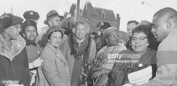 Former United States First Lady Eleanor Roosevelt with a large crowd at Citizens Campaign Committee headquarters Philadelphia Pennsylvania October 27...