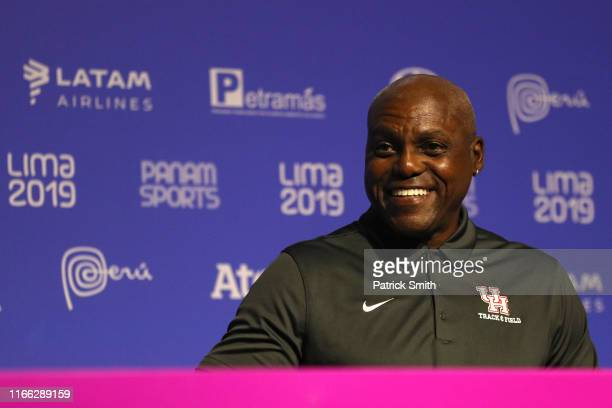 Former United States of America Olympian and multiple gold medal winner Carl Lewis looks on during a press conference on Day 10 of Lima 2019 Pan...