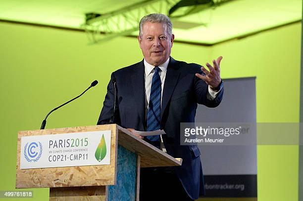 Former United States of America Vice President and Founder of Climate Reality Project Al Gore speaks to the press during a COP 21 press conference on...