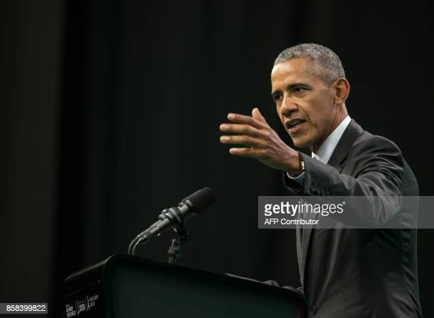 Former United States' President Barack Obama delivers a speech during the Green Economy Summit 2017 in Cordoba province some 740 kilometres...