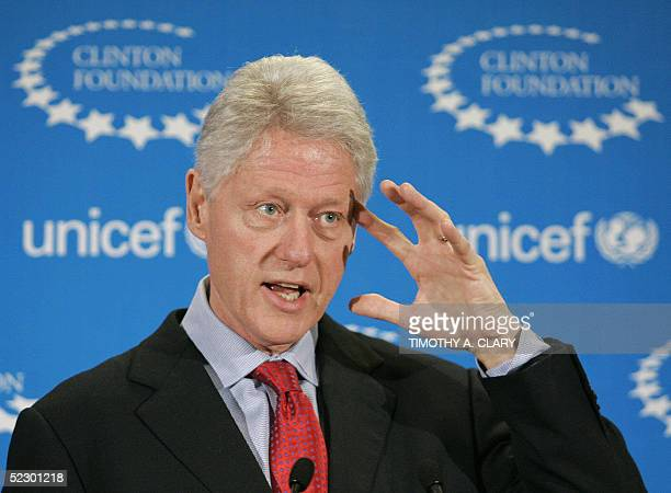 Former United States President Bill Clinton takes questions during a press conference at UNICEF House in New York 10 January 2005 CNN reported 08...