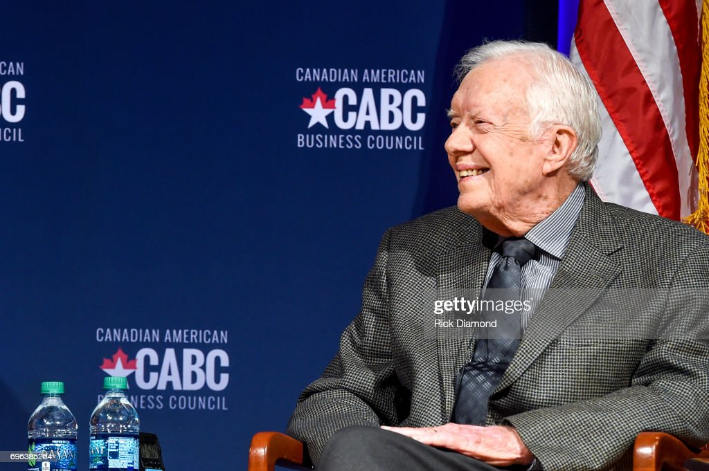 Former United States President Jimmy Carter speaks at 'The Board of Directors of the Canadian American Business Council Presents A Converation With Jimmy Carter and Joe Clark' at The Carter Center on June 15, 2017 in Atlanta, Georgia.
