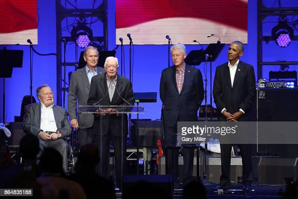 Former United States Presidents George HW Bush George W Bush Jimmy Carter Bill Clinton and Barack Obama address the audience during the 'Deep From...