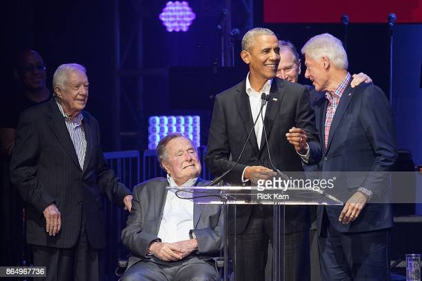 Former United States Presidents Jimmy Carter George HW Bush Barack Obama George W Bush and Bill Clinton address the audience during the 'Deep from...