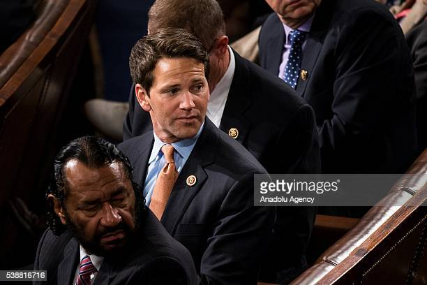 Former United States Representative for Illinois Aaron Schock waits for Prime Minister Narendra Modi of India addresses a joint session of the United...