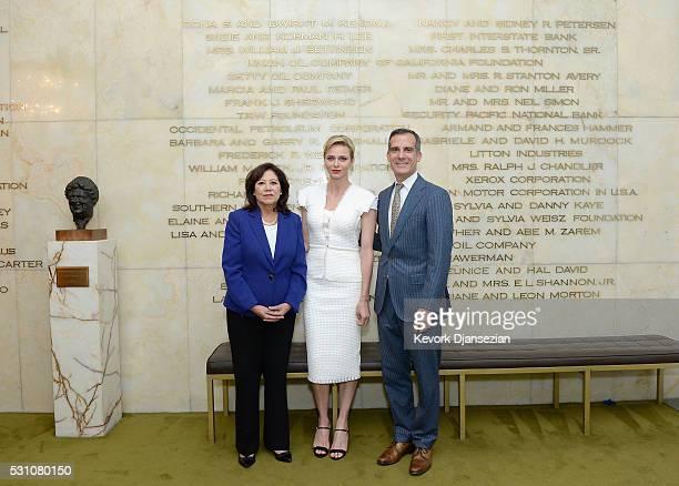 Former United States Secretary of Labor Hilda Solis Her Serene Highness Princess Charlene of Monaco and Mayor of Los Angeles Eric Garcetti attend the...