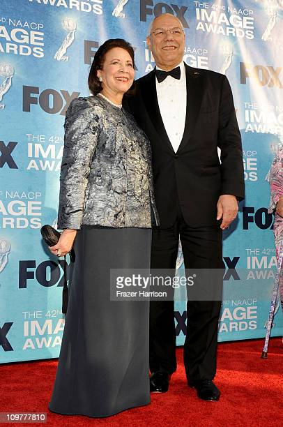 Former United States Secretary of State Colin Powell and Alma Powell arrive at the 42nd NAACP Image Awards held at The Shrine Auditorium on March 4...
