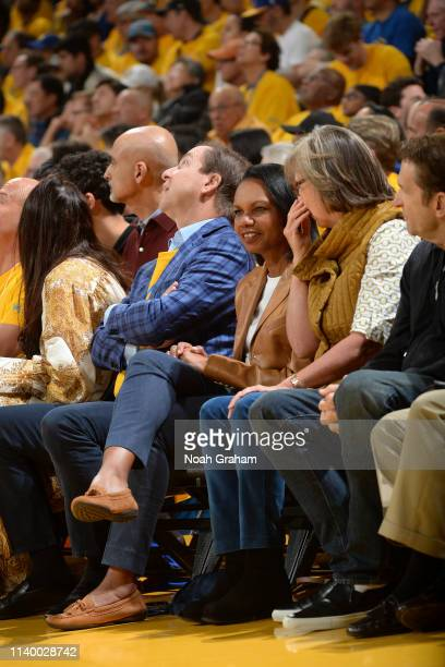 Former United States Secretary of State Condoleezza Rice is seen at the game between the Houston Rockets and the Golden State Warriors during Game...