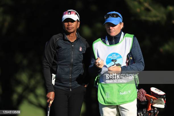 Former United States Secretary of State Condoleezza Rice looks on during the during the first round of the ATT Pebble Beach ProAm at Spyglass Hill...