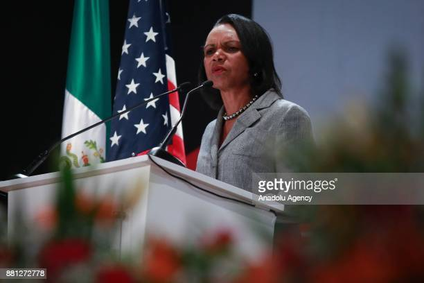 Former United States Secretary of State Condoleezza Rice makes a speech during a the 'Democracy and Liberty' conference at UVM University in Mexico...