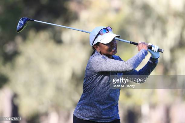 Former United States Secretary of State Condoleezza Rice plays his shot from the 13th tee during the during the first round of the ATT Pebble Beach...