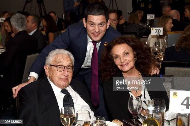 Former United States Secretary of State Henry Kissinger and Honorees David Miliband and Diane von Furstenberg attend the 2018 Rescue Dinner hosted by...