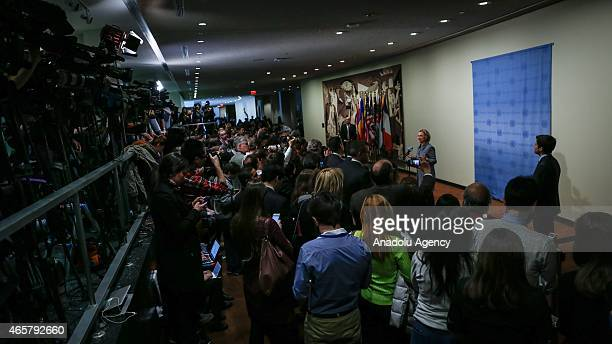 Former United States Secretary of State Hillary Clinton holds a press conference UN Headquarters in New York United States on March 10 2015