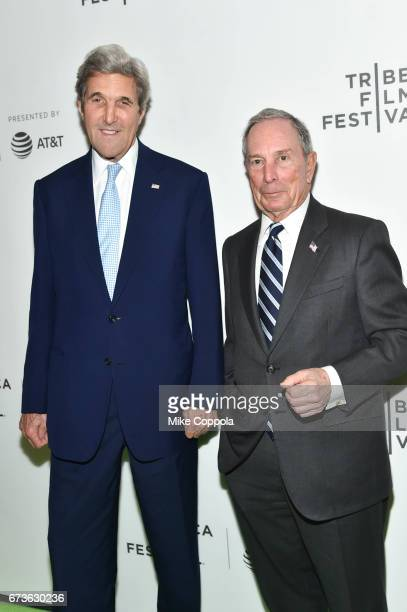 Former United States Secretary of State John Kerry and CEO of Bloomberg LP Michael Bloomberg attend 'From the Ashes' Premiere 2017 Tribeca Film...