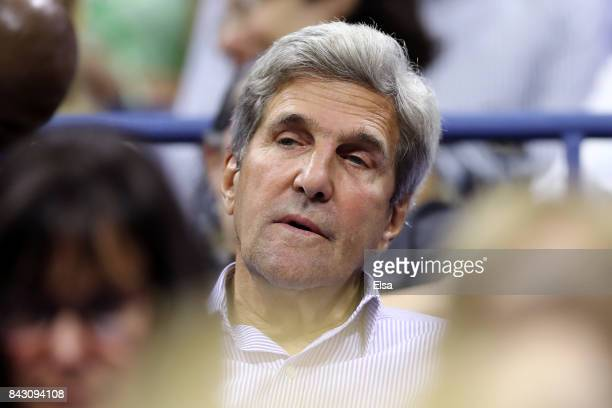 Former United States Secretary of State John Kerry looks on during the Women's Singles Quarterfinal match between Venus Williams of the United States...