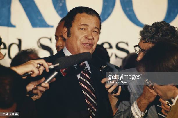Former United States Senator from Massachusetts Edward Brooke III after conceding victory to the challenger Paul Tsongas 7th November 1978