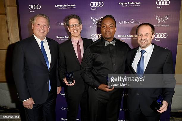 Former United States Vice President Al Gore Honoree Jim Berk John Dillon Award Recipient Darius Coffey and Honoree Jeff Skoll inside the 13th Annual...