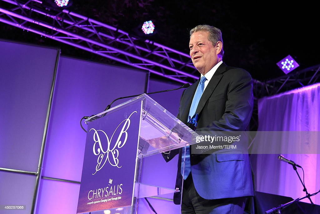 Former United States Vice President Al Gore speaks onstage during the 13th Annual Chrysalis Butterfly Ball sponsored by Audi, Kayne Anderson and Stella Artois in Los Angeles, California on June 7th, 2014.
