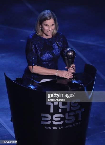 Former United States women's national soccer team coach Jill Ellis receives The Best FIFA Women's Coach of the Year award during The Best FIFA...