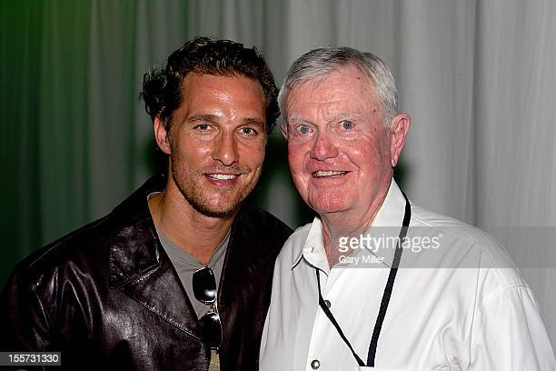 Former University of Texas football coach Darrell K Royal and Matthew McConaughey attend Texas Film Hall of Fame Awards at Austin Studios in 2006...