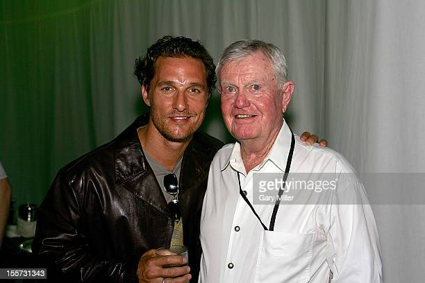 Former University of Texas football coach Darrell K Royal and Matthew McConaughey attend Texas Film Hall of Fame Awards at Austin Studios in 2006....