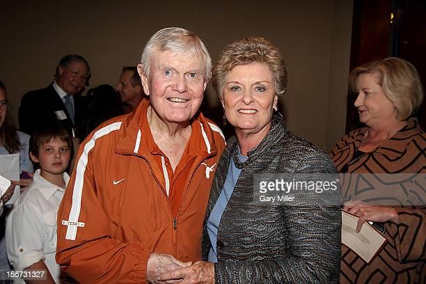 Former University of Texas football coach Darrell K Royal and UT basketball coach Jody Conradt attend a statue dedication for Jody Conradt at Frank...